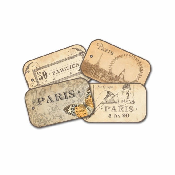 Autumn Paris Gift Tags, Paris Butterfly Tag, Trapeze Paris Circus Tag, Autumn Bridal Shower Gifts, Brown Tone Parisian Gift Tags, Paris