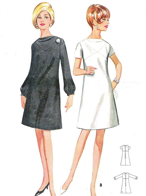 Articles similaires à années 60 robe patron Butterick 4483 Mod A ligne jour  robe de soirée Cowl cou manches longues courtes Womens Vintage couture  buste