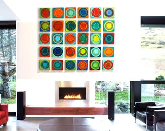 Painted Wood Abstract Wall Sculpture - 30 piece collection Modern Abstract on Wood Wall Art Blocks - by Rosemary Pierce - SKU#DC33005