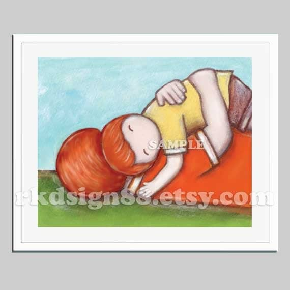 Father and son nursery art print, boys wall art, gift for dad, children art print, boys room art, red hair, My Streangth