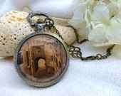 Wanderlust Old World Travel Watch Necklace -  Steampunk OOAK Pocket Watch - Lisbon, Portugal - Long Necklace