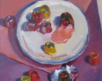 "Sale! Valentines day gift art painting candy chocolate truffles ""Have One"" original oil by Sarah Sedwick 8x8in"