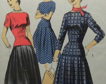 Sale! Pretty 1950's Suit Drop Waist Very Full Pleated Skirt and Bateau Neck Overblouse ADVANCE Vintage Pattern UNCUT & FF!