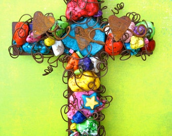 Metal Cross - Holy Trinity Cross - Holy Spirit Welcome - Father Son Holy Spirit - Colorful Wall Cross - Turquoise Wall Cross - Rusty Cross