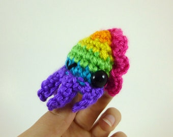 Bright Rainbow Baby Cuttlefish Amigurumi Crochet Plushie - Purple Base - MADE TO ORDER