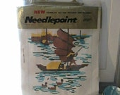 VINTAGE NEEDLEPOINT BOAT Wallhanging or Pillow Kit
