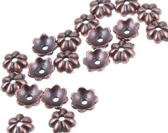 5mm Copper Bead Caps - TierraCast PETAL Caps - Antique Copper Beadcaps - Small Dainty Delicate Copper Caps (PC108)