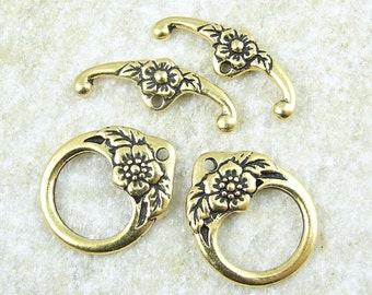 Antique Gold Toggle Clasp Findings - TierraCast FLORAL CLASP Set - Flower Toggle Findings - Large Toggles (PF2013)