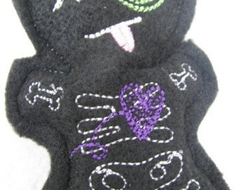 Voodoo Doll with Skeleton Stitching Pin Cushion or Pocket Pal - Black, Purple and Green