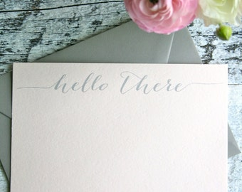 Hello Note Cards, Hello There Note Cards, Set of 5, Blush Note Cards, Stationery Set, Flat Note Cards