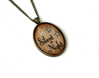 Silent Night Necklace, Christmas Song Cameo Necklace, Xmas Illustration, Stocking Stuffer