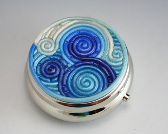 Pill Box in Blue and Teal Polymer Clay Filigree