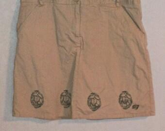 Hand printed Hops SkOrt (Upcycled khaki skort- aka skirt/shorts size 10)
