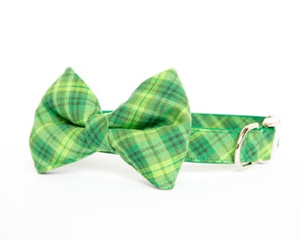 Plaid Bow Tie Dog Collar - Summer Green Tartan