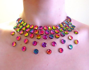 Iridescent Rainbow Illusion Necklace, Floating Rhinestone Necklace, Discount Statement Necklace, Sale Price Rhinestone Illusion Necklace