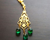 Green Eyes of Agra (0103N) - India Design, Green Faceted Briolette Glass Beads, Emerald, Gold Jewelry, Filigree Pendant, Elegant, Christmas