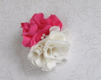 Bridesmaid Headpiece, Bridal Hair Flower, Fascinator, Pink, Ivory, Vintage style, Handmade Flower, Recycled, Upcycled-FiONA