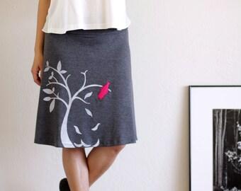 Lovely Design Skirt,  Gray knit skirt, Plus size skirt, Women's gray A-line knee length applique skirt - The bird and the falling leaves