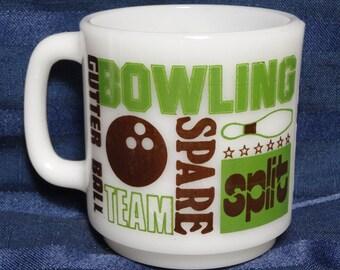 Vintage Bowling Mug/ 1970's Glasbake Milk Glass Coffee Cup RETRO