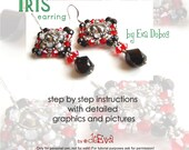 bead pattern / tutorial - F35 - Iris - beadwoven earring with mini rivoli - Instruction for personal use only