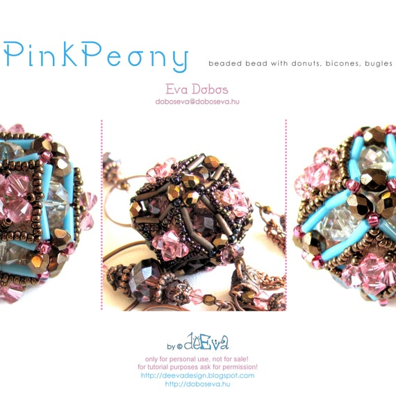 bead pattern - Pink Peony - beaded bead - PDF instruction for personal use only