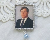 Customized Photo and Quote Memorial Bouquet Charm  with Crystal or Pearl Accent
