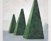 Large Topiary Painting Pyramid Shape Buxus Landscape French Garden Original Textured Wall Art