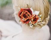 fall hair accessories, burnt orange flower, rust bridal hairpiece, wedding hair clip - HEARTS AFIRE - fall wedding, autumn hairpiece