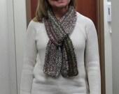 Chocolate Truffle III chocolate brown and multicolor alpaca blend crochet scarf