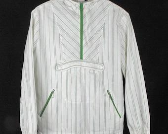 Vintage Jacket Green White Stripes Hood Pullover S M