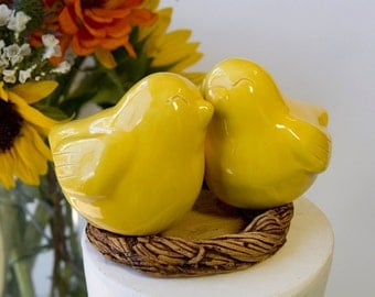 Yellow Love Bird Cake Topper