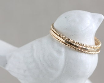 One 14K Gold-Filled Textured Stack Ring (Thin)