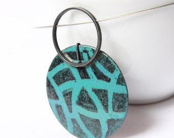 """Large pendant with an intricate pattern, made of Sterling silver and copper, Turquoise and black enamels, """"Drawnwork Pendant II"""""""