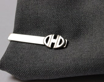 Custom tie bar clip with Oval  Monogram , Made to order, Personalized jewelry, For Groom, Groomsmen, Husband