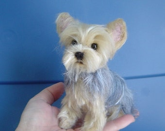 Yorkshire Terrier custom pet Portrait needle felted dog sculpture memorial miniature made to order Yorkie
