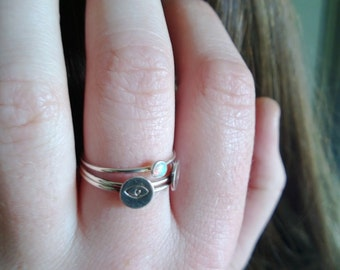 sterling stacking ring, evil eye stacking ring, crescent moon stacking ring, opal stacking ring