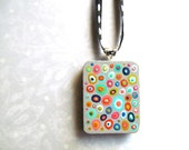 Handpainted Pendant - Concentric Dots on Gray