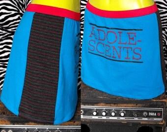 Adolescents Skirt 90s Punk Skirt Punk Mini Skirt Reconstructed T Shirt Skirt Rock n Roll Skirt Nineties Punk Rock Skirt Harcore Punk Skirt