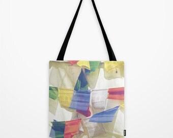 Prayer Flag Tote Bag, Small Book bag - Buddhist Prayer Flags 13 x 13, 16 x 16, 18 x 18 Beach Tote