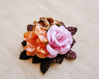 Sugar Pink, Espresso, Apricot roses Mixed bunch Vintage style Millinery Flower spray Bouquet- corsage, floral shabby chic 32114 OOAK