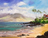POLO BEACH MAUI Original Palette Knife Oil Painting 11x14 Art Hawaii Ocean Tourist Wedding Resort Palm Tree Hawaiian Fairmont Kea Lani Relax