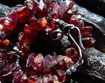 SEMI-ANNUAL SALE Garnet bracelet | Red stone bracelet | Garnet crystal bracelet | Rough garnet bracelet | Boho bracelet