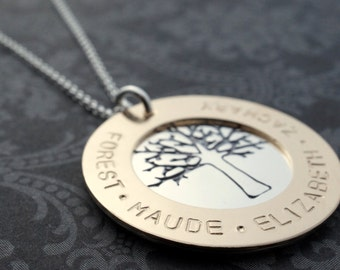 Eternity Circle Family Tree Necklace - Personalized Necklace - Family Tree w/ Names and Dates in Sterling Silver and Gold Filled by EWD