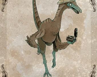 Compassgnathus steamPUNk dinosaur art print 5x7
