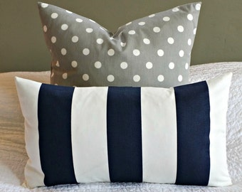 Navy and White Striped Lumbar Pillow Cover