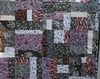 Black White and Red All Over Handmade One of a Kind Quilted Throw
