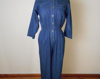 vintage Women's Denim Long Sleeve Jumpsuit / Jumper - Fits Small