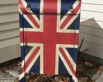CUSTOM ORDER . Union Jack English flag antique Bar cabinet Jewelry