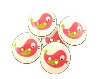 """5 Pink Bird Buttons.  Handmade Sewing Buttons.   3/4"""" or 20 mm."""