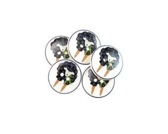 """Black Sheep Buttons. 5 Handmade Buttons.  Primitive Sewing Buttons. 3/4"""" or 20 mm"""
